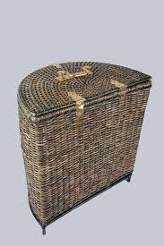 white laundry hampers bed u0026 bath charming lidded half round wicker laundry basket