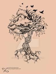 wonderful tree of design with flying black birds