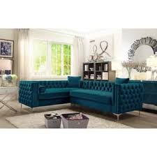 Blue Velvet Sectional Sofa Blue Sectional Sofas For Less Overstock