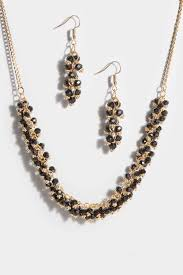 black beaded necklace images Gold black beaded necklace earrings set jpg