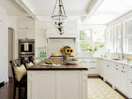 Rustic Hickory Kitchen Cabinets Windows Over Sink Casual Elegance White Kitchen Classic Area Rug