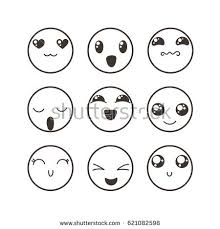 doodle emoticon set lovely kawaii emoticon doodle stock vector 621082598