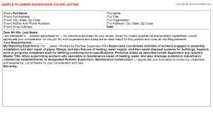 Plumbing Supervisor Resume Sample Plumber Supervisor Cover Letter