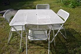 Retro Folding Lawn Chairs Vintage Mid Century Metal Mesh Folding Patio Table 4 Metal Folding