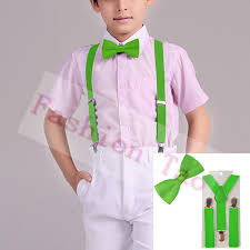 2 pcs green children bowtie boys suspenders butterfly braces