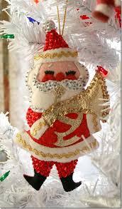 vintage felt n sequin santa ornament vintage