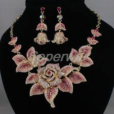 aliexpress necklace set images Alloy new pink rose crystals necklace earring set party jewelry jpg