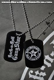 dog tag jewelry engraved tag necklace metal laser engraved rock n roll gangstar letters and logo