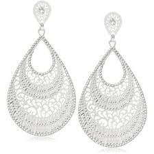 white earrings lk designs summer big drop white earrings polyvore