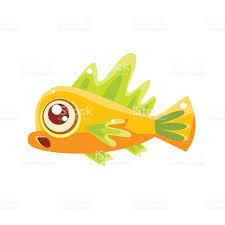 surprised yellow fantastic aquarium tropical fish cartoon