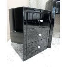 Mirrored Glass Nightstand Mirrored Glass Bedside Table Black Glass Mirrored Bedside Table