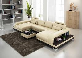 Double Chaise Sofa Lounge by Plush Beige Leather Double Chaise Sectional With Table And