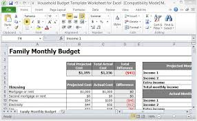 Excel Spreadsheet Budget Template Household Budget Template Worksheet For Excel