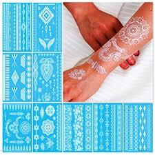 amazon com white henna temporary tattoos for women teens girls