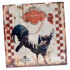 deco plaque metal plaque murale décorative le coq en pate en métal animaux ferme