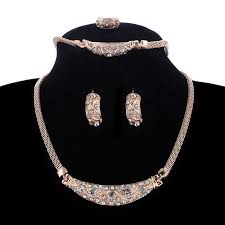 Buy Designer Gold Plated Golden Aliexpress Com Buy Classic Design Short Necklace Earring Ring