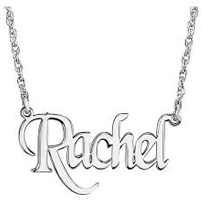 White Gold Personalized Necklace Personalized 14k White Gold Block Nameplate Pendant Necklace