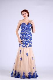 royal blue tulle charming sweetheart chagne tulle royal blue lace applique prom