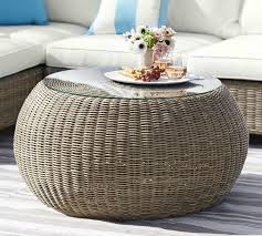 Pouf Coffee Table Torrey All Weather Wicker Coffee Table Pouf Pottery Barn