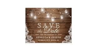 rustic save the date rustic jar lights lace wedding save the date postcard