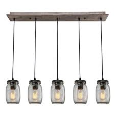Linear Island Lighting by Lnc Wood Pendant Lighting 5 Light Glass Mason Jar Ceiling Lights