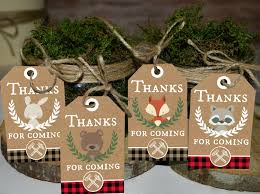 thank you favors lumberjack thank you tags thank you favors woodland party