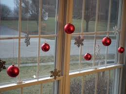 Decoration For Window Captivating Red Glass Balls And Snowflake Ornaments Hung Applied