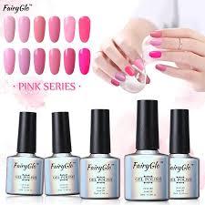 wholesale fairyglo gel nail polish 10ml uv color gel pink series
