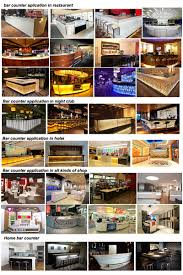 boat shaped wooden home bar counter with artificial marble stone