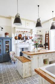 adorable design of the kitchen areas with white antique cabinets