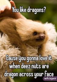 Dragon Sloth Meme - like dragons cause you gonna love it when deez nuts are dragon