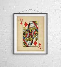 queen of diamonds playing card art game room decor game room