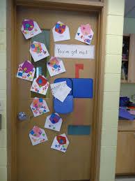 post office themed bulletin board on the classroom door we like