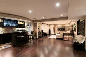 a basement with room to entertain contemporary basement