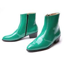 s boots made in s synthetic leather glossy green side zip high heel ankle
