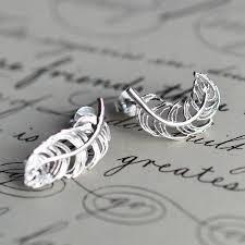 feather stud earrings silver feather stud earrings charmed