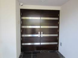 designs of modern kitchen black wooden and glass double entry doors with stainless steel