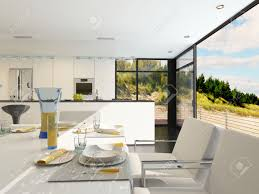 modern open plan kitchen dining room modern open plan dining area with stylish place settings on a