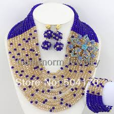 fashion beads necklace images Latest new african nigerian jewelry set 12 rows blue beads fashion jpg