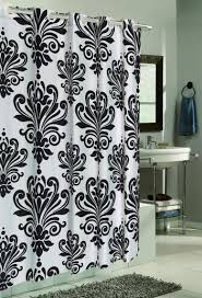 fabric shower curtains beach gray floor brown wooden vanity soft