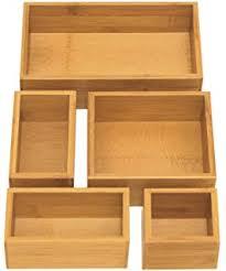 Wood Desk Drawer Organizer Amazon Com Bamboo Wooden Drawer Divider Set Of 4 Adjustable