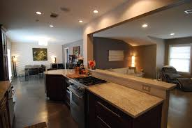 make your floor plan dark brown floor connected by beige granite countertops and some