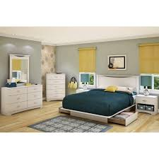 Wood Bed Frame With Drawers Plans Bedroom White Wiooden Bed Frame With Headboard And Blue Bedding