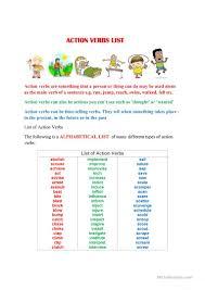 action verbs list a to z worksheet free esl printable worksheets