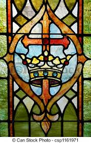 cross and crown stained glass window depicting a cross stock