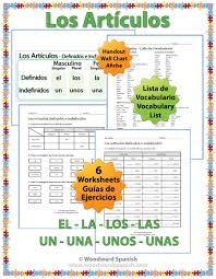 spanish teacher resource definite and indefinite articles in