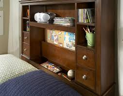 full size bookcase bed with cork message board and built in touch