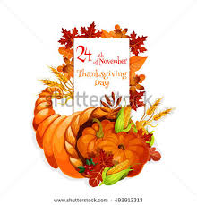 thanksgiving day cornucopia greeting card vector stock vector