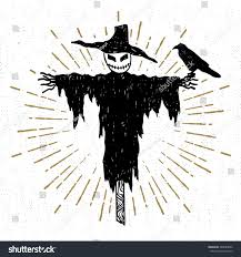Halloween Icon Hand Drawn Halloween Icon Textured Scarecrow Stock Vector