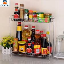 spice cabinets for kitchen aotu double universal layers stainless steel shelf rack kitchen